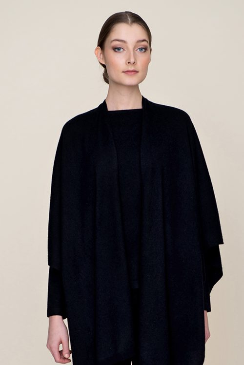 black ela cashmere cape Andiata