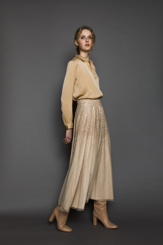 beige sequin skirt andiata